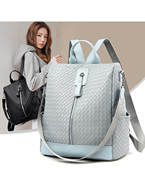Fashion Dark Brown Soft Leather Woven Backpack
