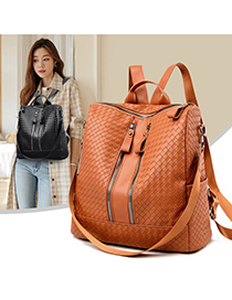 Fashion Brown Pu Embossed Backpack