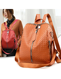 Fashion Black Woven Soft Backpack