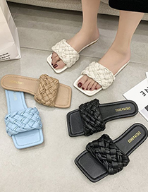 Fashion Creamy-white Braided Flat Slippers