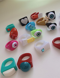Fashion Black Eyes-10# Resin Candy Color Ring