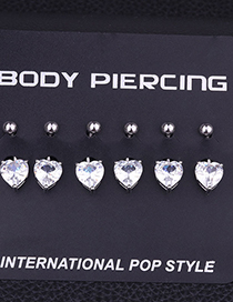 Fashion White Stainless Steel Inlaid Zircon Heart-shaped Belly Button Nail