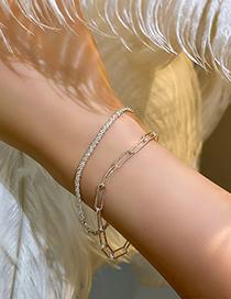 Fashion Sterling Silver Edition-square Bracelet Silver Sparkling Chain Bracelet