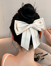 Fashion Black Pearl Flower Flannel Bow Hairpin
