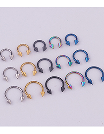Fashion 5 Mixed Colors Stainless Steel Pointed Cone C-shaped Lip Ring