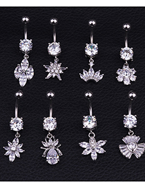 Fashion H Section Stainless Steel Inlaid Zircon Flower Belly Button Nail