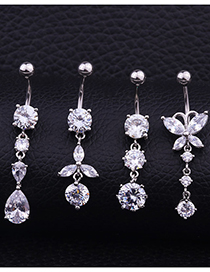 Fashion D Section Stainless Steel Piercing Navel Nail