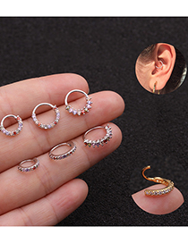 Fashion 6#8mm Side Drill Round Nose Ring Inlaid With Colorful Zircon