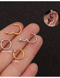 Fashion Steel Color Glossy Stainless Steel Zircon Multifunctional Split Ring