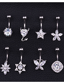 Fashion H Section Stainless Steel Inlaid Zircon Belly Button Nail