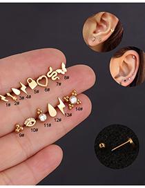 Fashion Steel Color 14# Mini Lightning Stainless Steel Screw Earrings