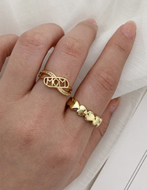 Fashion Golden Copper Inlaid Zircon Letters Mom Ring