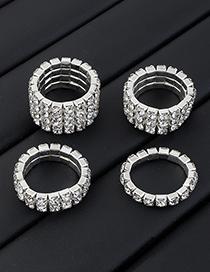 Fashion 4 Rows Full Diamond Claw Chain Multi-drain Diamond Ring