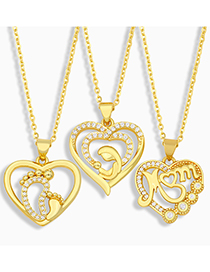 Fashion C Mom Heart Letter Necklace With Diamonds