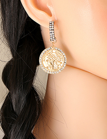 Fashion Silver Color Geometric Round Coin Embossed Portrait Diamond Earrings