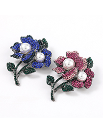Fashion Rose Red Alloy Brooch With Diamonds And Pearls