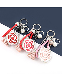 Fashion Turquoise Artificial Leather Flower Keychain With Diamond Tassel