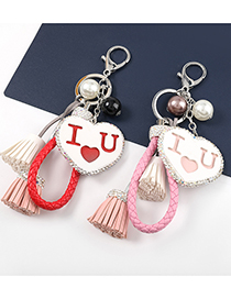 Fashion Turquoise Heart-shaped Artificial Leather Keychain With Diamonds And Tassels