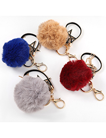 Fashion Brown Alloy Oil Drop Diamond Five-pointed Star Hair Ball Keychain