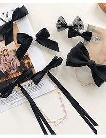Fashion Semicircle Bow Pearl Bowknot Pearl Chain Polka Dot Hairpin