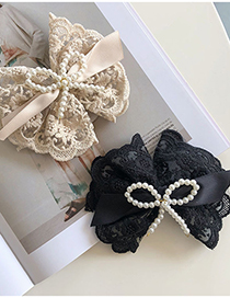 Fashion Beige Lace Pearl Bow Hairpin