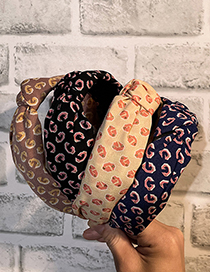 Fashion Navy Knotted Gold Powder Letter Fabric Headband