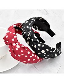 Fashion Black Silk Fabric Printed Polka Dot Headband