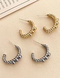 Fashion Silver Color Alloy Geometric C-shaped Earrings