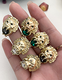 Fashion Black Alloy Diamond Lion Head Stud Earrings