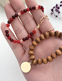 Fashion Brown Alloy Resin Wooden Bead Double Necklace