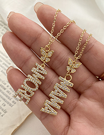 Fashion Gold Color Copper Inlaid Zircon Butterfly Letter Mama Necklace