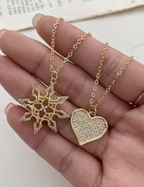 Fashion Gold Color Copper Inlaid Zircon Heart Necklace