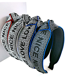 Fashion Gray Background And White Edges-knotted Letter Wide-sided Webbing Knotted Headband
