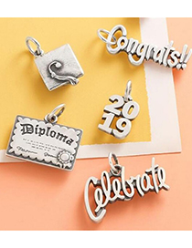 Fashion 5# Stainless Steel Letter Schoolbag Pendant
