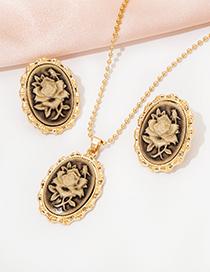 Fashion Suit Rose Earrings Necklace Set