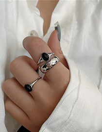 Fashion Dripping Oil Black Metal Glossy Drip Open Ring