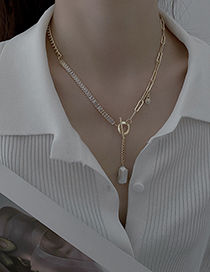 Fashion Gold Color Real Gold Electroplated Pearl Zircon T-shaped Buckle Necklace