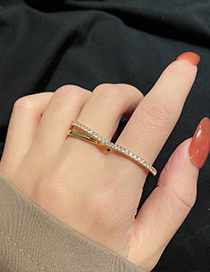 Fashion Silver Color Geometric Arc Love Heart Two-finger Ring
