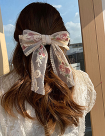 Fashion Hair Ring Lace Rose Flower Bow Hairpin