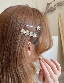 Fashion Gold Color Two-piece Hairpin With Diamonds Pearls And Flowers