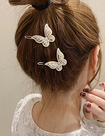Fashion Gold Color Real Gold Electroplated Pearl Zircon Butterfly Hairpin