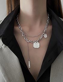 Fashion Silver Color Round Brand Alphanumeric Double-layer Necklace