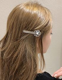 Fashion Black Diamond-studded Pearl Drop Oil Flower Hairpin