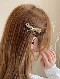 Fashion Gold Color Pearl And Diamond Bow Hairpin