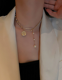 Fashion Gold Color Pearl Coin Necklace