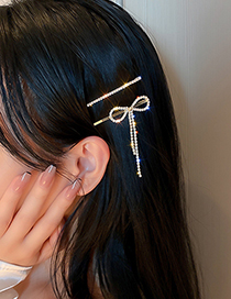 Fashion Gold Color-style Two Two-piece Hairpin With Diamond Bow