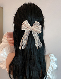 Fashion Black Pearl Lace Bow Hairpin