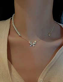 Fashion Gold Color Pearl Micro Inlaid Zircon Butterfly Necklace