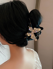 Fashion Gray Diamond-studded Butterfly Hair Catch