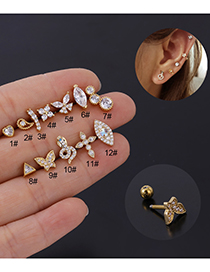 Fashion 12#s Stainless Steel Thick Rod Screw Ball Ear Studs